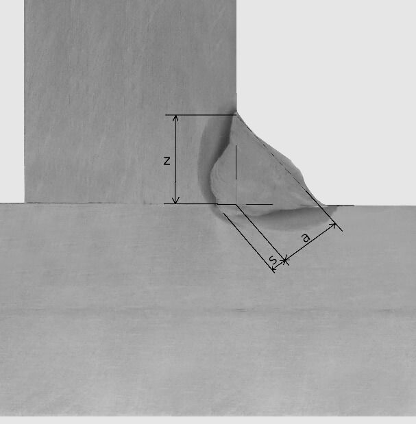 Rysunek 10. Oznaczenie grubości spoiny pachwinowej, długości boku oraz głębokości wtopienia